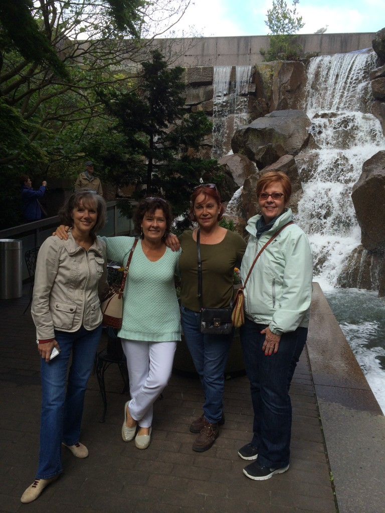 Waterfall park  in downtown Seattle. Peggy Whalen (travel agent), Holly Monroe (instructor), Maria Medeles, Debbie Story)