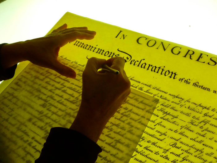 Holly Monroe Recreates Life-Sized Replica of the Declaration of Independence