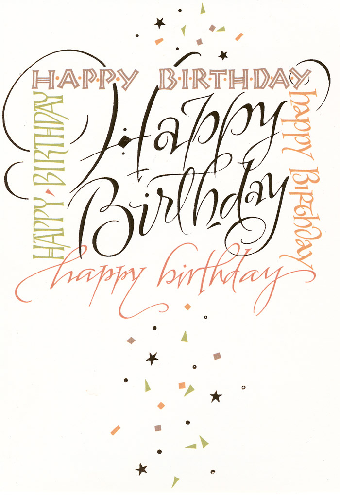 The Gallery For Happy Birthday Calligraphy Card