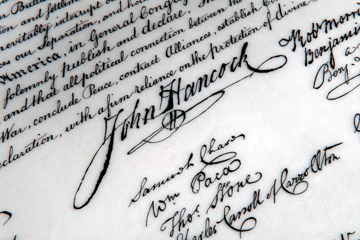 Holly Monroe Recreates John Hancock's Signature on the Declaration of Independence
