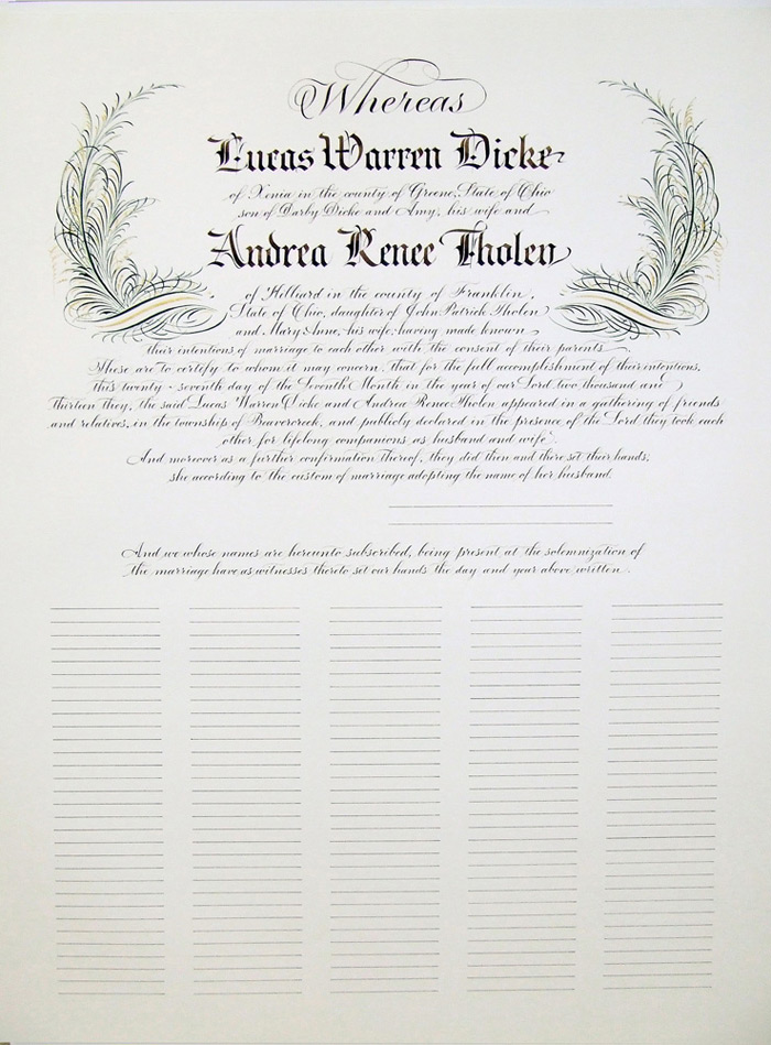 Quaker Wedding Certificate