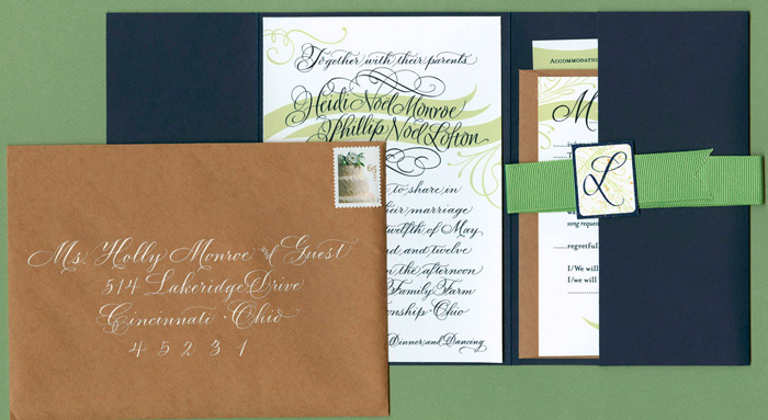 Barn Wedding Invitation Set with Belly Band (wraps around when n