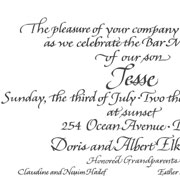 Wide Italic Bar Mitvah Invitation